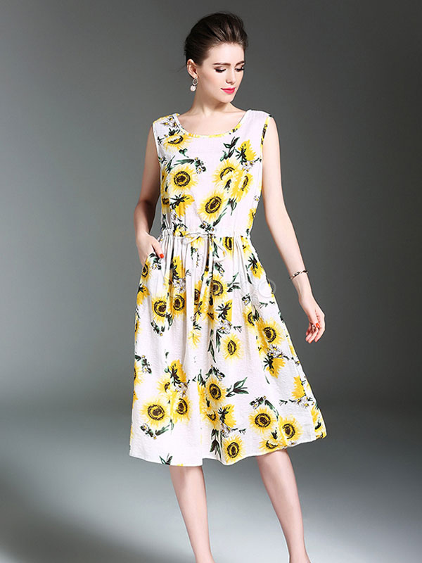 Buy Women's Skater Dress Round Neck Sleeveless Floral Printed Drawstring Flare Dress for $28.49 in Milanoo store