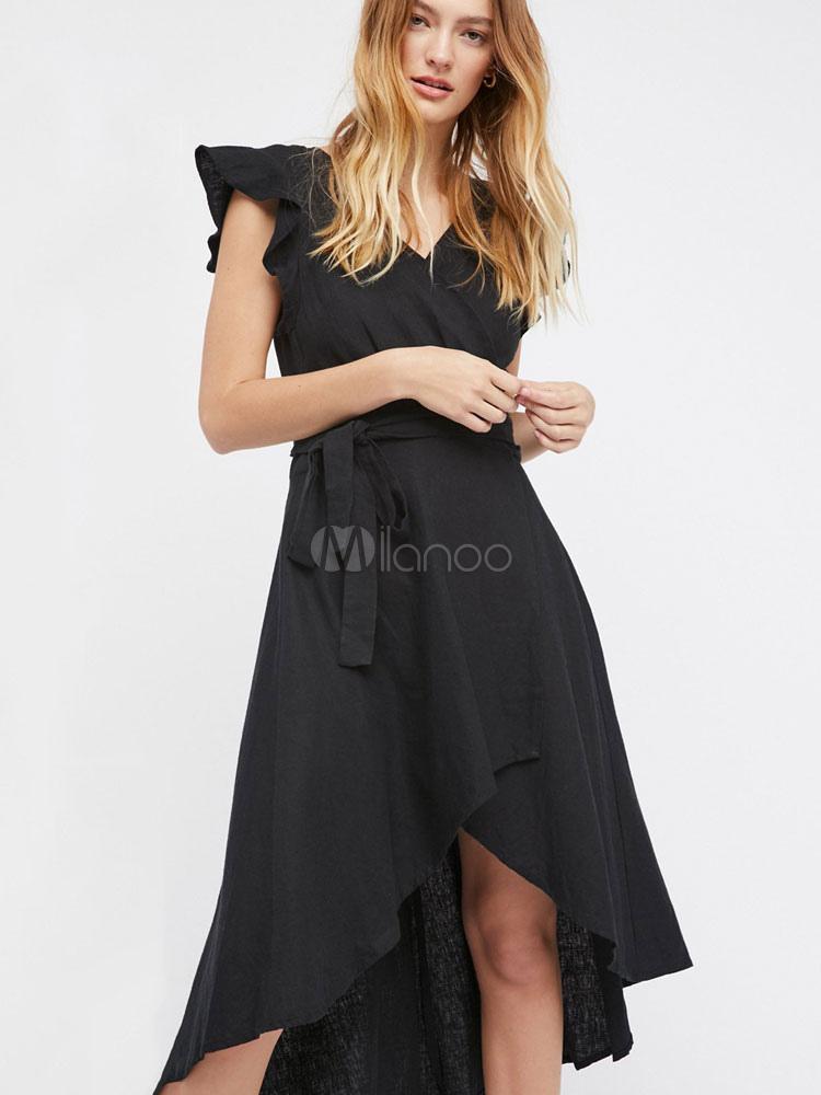 official photos b0eb2 7635f Vestito plissettato monocolore nero per ragazze con scollo a V maniche  corte con fondo asimmetrico