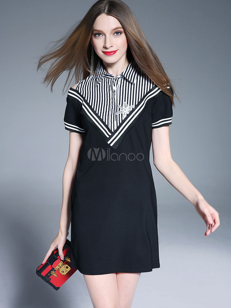Black Shift Dress Short Sleeve Cold Shoulder Striped Women's Summer Dresses