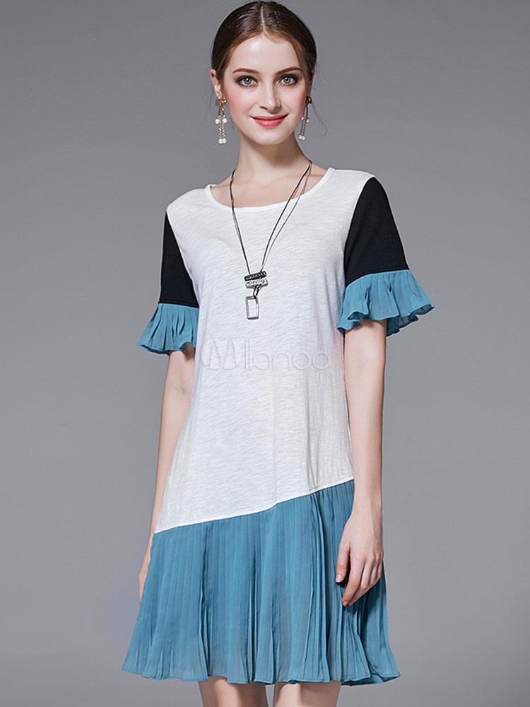 Buy White Shift Dress Ruffles Color Block Short Sleeve Women's Summer Dresses for $33.24 in Milanoo store