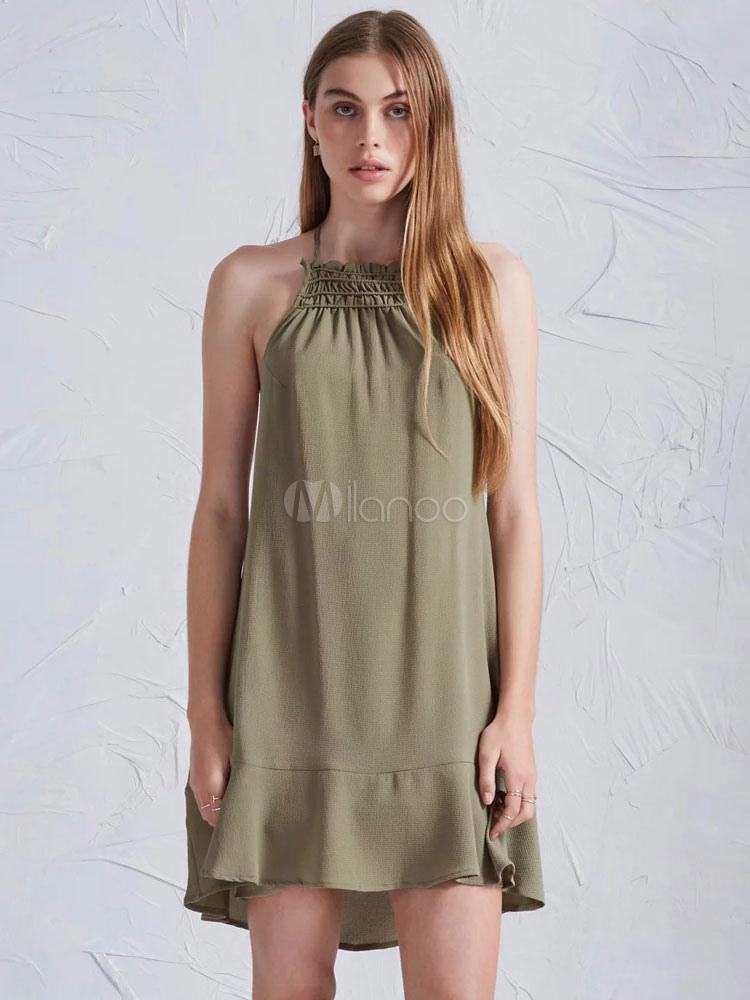 Buy Women's Shift Dress Hunter Green Halter Sleeveless Backless Short Dress for $19.48 in Milanoo store