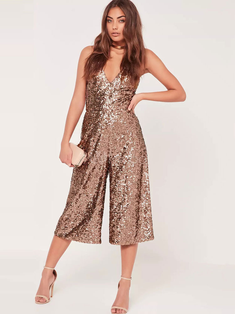 Buy Sequined Brown Romper Women's Strappy Sleeveless Loose Leg Playsuit for $28.49 in Milanoo store