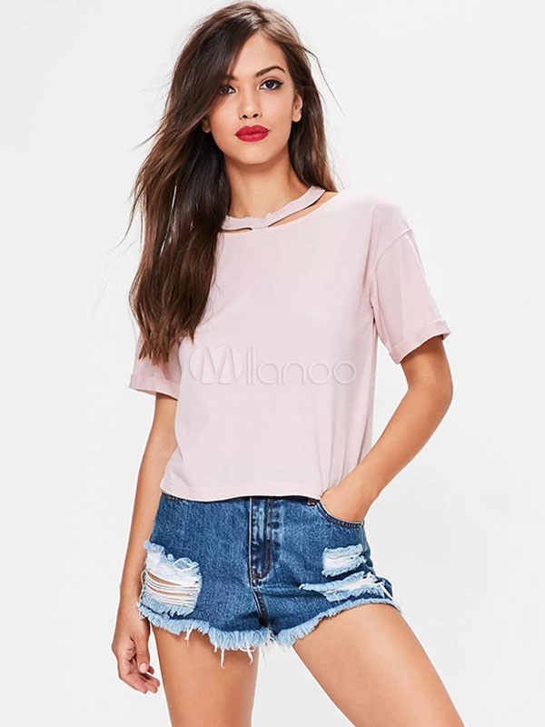 Pink T Shirt Women's Round Neck Short Sleeve Cut Out Casual Top For Women