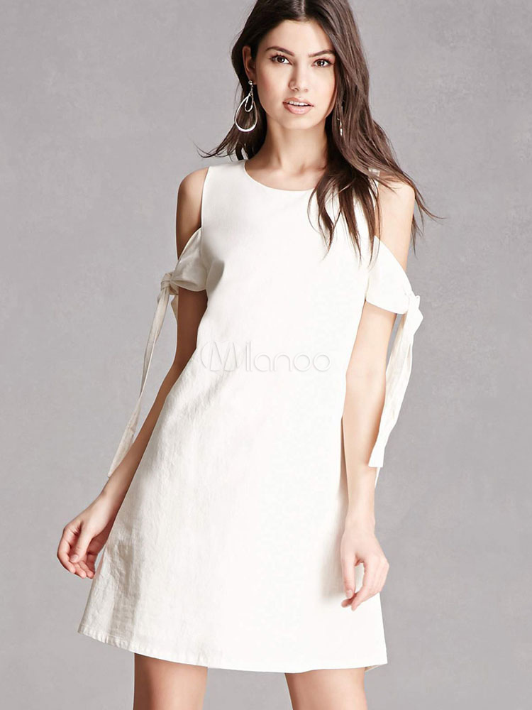 Buy White Shift Dress Round Neck Short Sleeve Cut Out Lace Up Women's Dress for $23.74 in Milanoo store