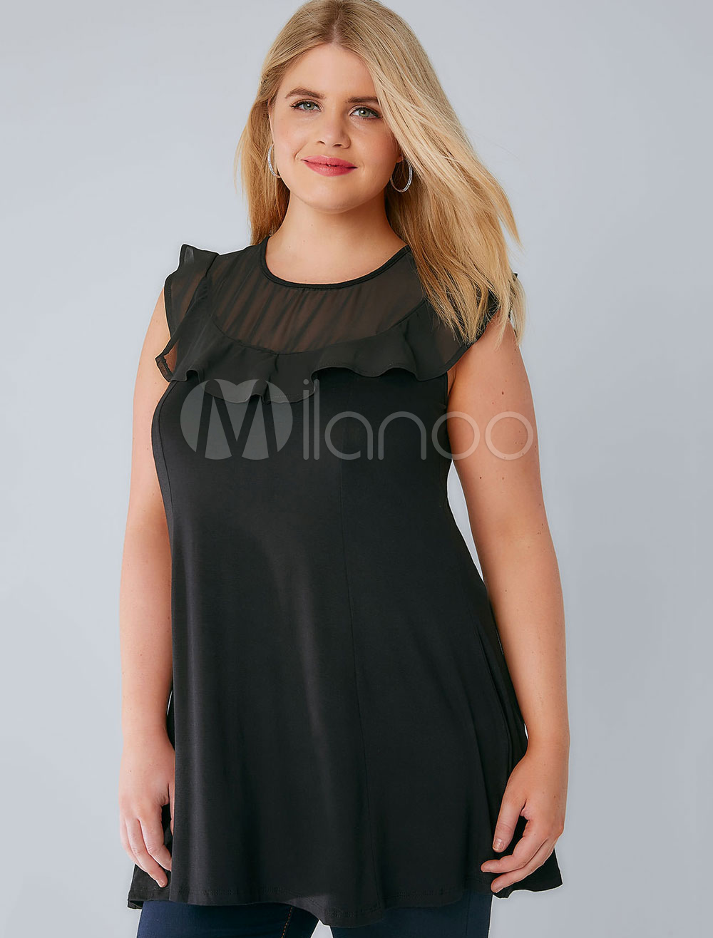 Buy Women's Black Tank Plus Size Round Neck Sleeveless Cotton Casual Top for $15.29 in Milanoo store