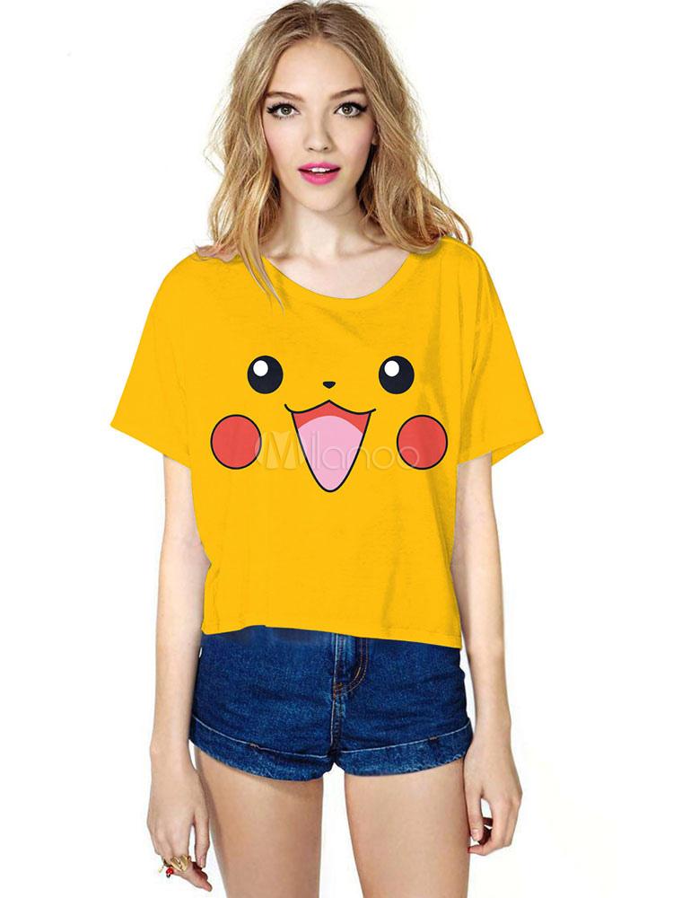 5da3a54b Pokemon Pikachu Print Costume Women's Short Sleeve Yellow T Shirt ...