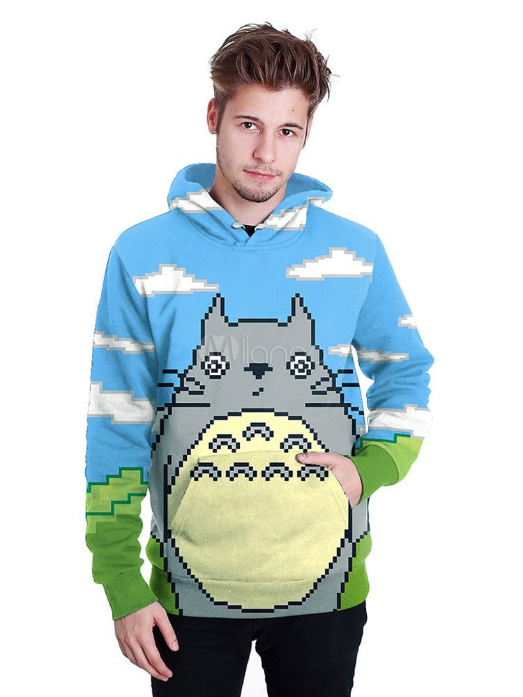 Totoro Anime Pixel Print Long Sleeve Hoodie Halloween