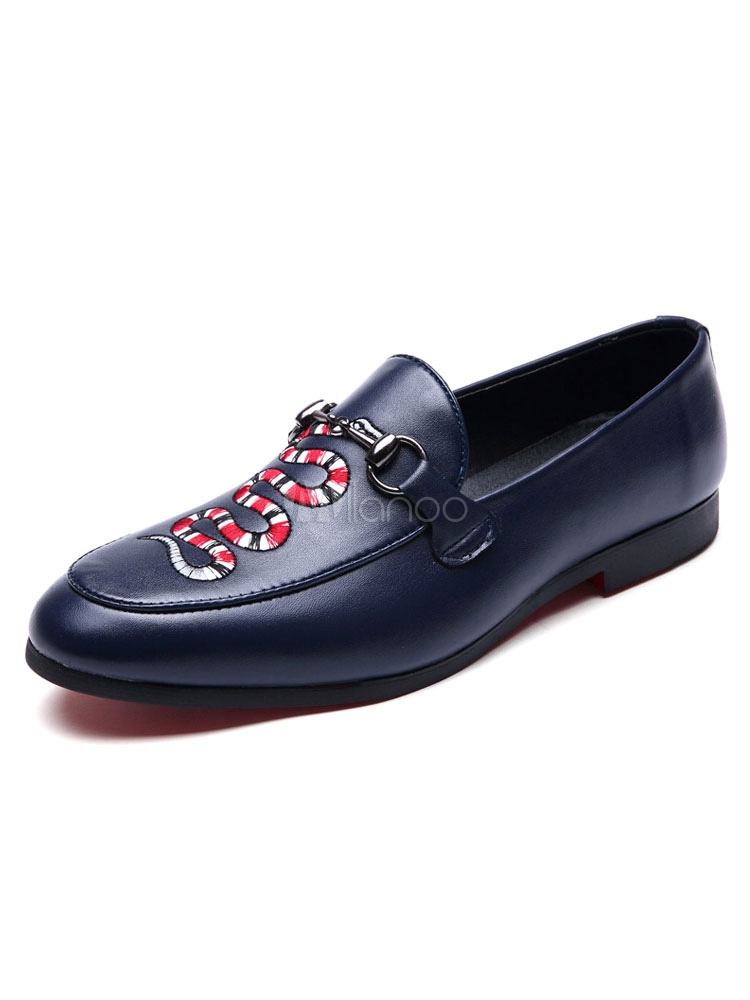 Deep Blue Loafers Men's Pointed Toe Embroidered Slip On Flat Shoes