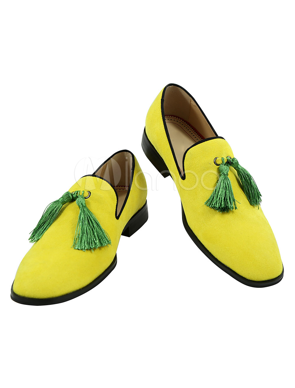 Buy Yellow Men's Loafers Suede Leather Round Toe Slip On Shoes With Tassels for $78.84 in Milanoo store