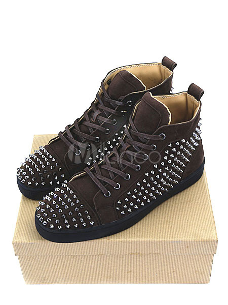 Brown Skate Shoes Suede Leather Rivets Lace Up High Top Spike Shoes