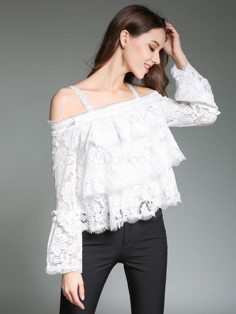dbbe88745 Blusa de encaje blanca con tirantes con manga larga con volante fruncido  elegante-No.