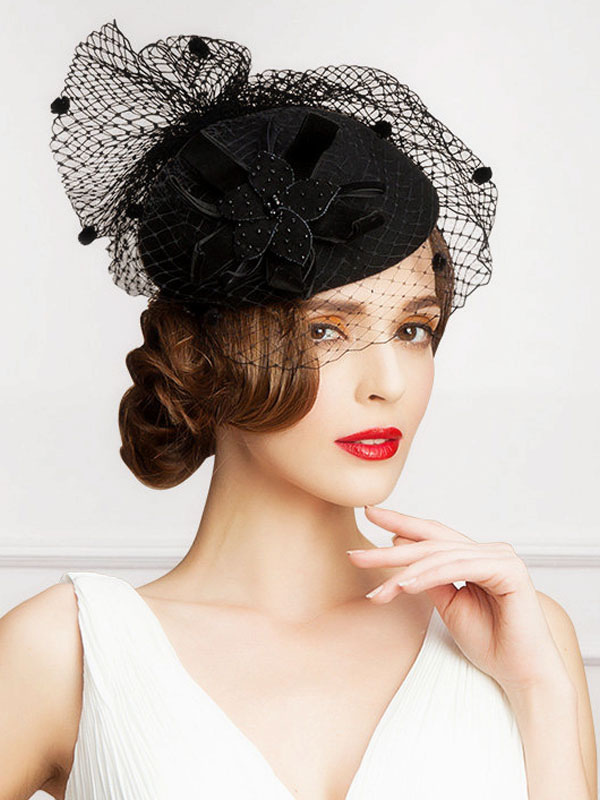 Buy Retro Costume Fascinator Hat Black Lace Wool Flowers Women's Flapper Hat Costume Accessories Halloween for $31.99 in Milanoo store