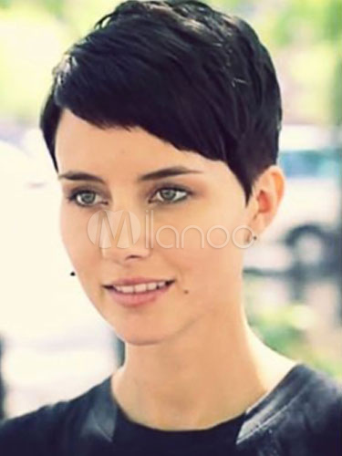 Human Hair Wigs Short Straight Women's Side Swept Bangs Black Wigs