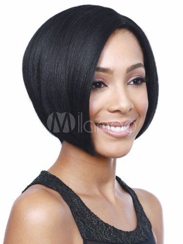 Human Hair Wigs Bobs Black Straight Side Parting Women s Short Hair ... c135179aa