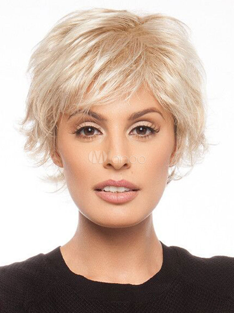 Buy Human Hair Wigs Short Straight Side Parting Women's Light Apricot Wigs for $38.63 in Milanoo store