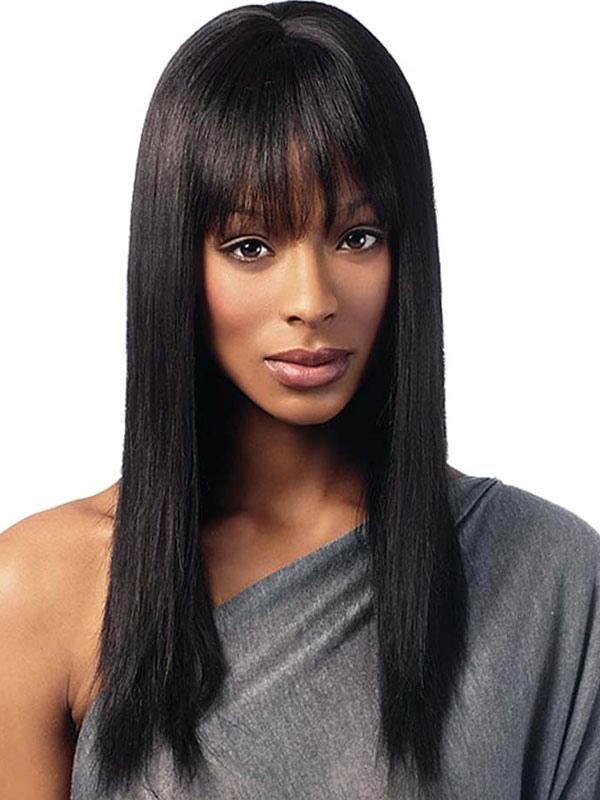 Human Hair Wig Black Long Straight Blunt Fringe Women Hair Wig