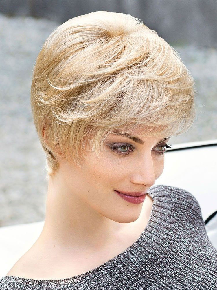Buy Human Hair Wigs Light Apricot Layered Short Curly Hair Wigs With Side Bangs for $38.63 in Milanoo store