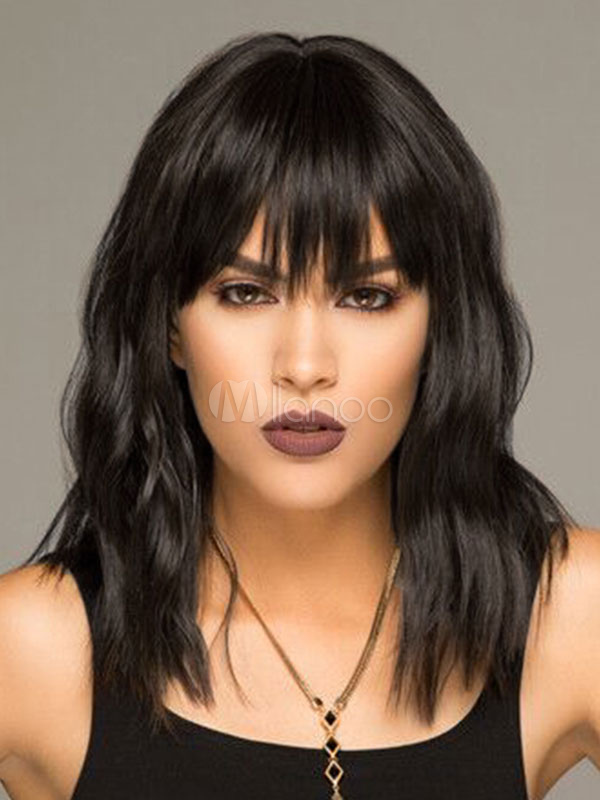 Human Hair Wigs Crimp Curls Women's Black Layered Hair Wigs With Bangs