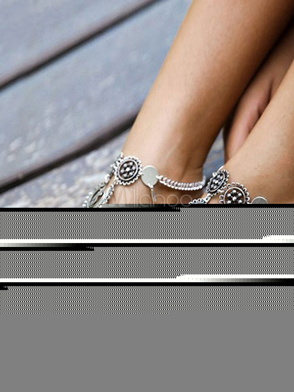 Buy Boho Ankle Bracelet Silver Foot Chains Tassels Women's Beach Anklets for $3.67 in Milanoo store