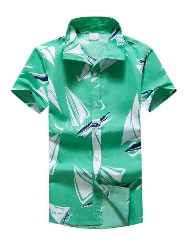 Men's Summer Shirt Tropical Print Turndown Collar Short Sleeve Slim Fit Green Beachwear