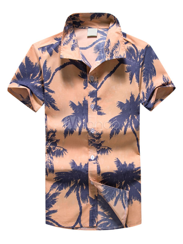 Men's Orange Shirt Palm Tree Print Turndown Collar Short Sleeve Regular Fit Beachwear