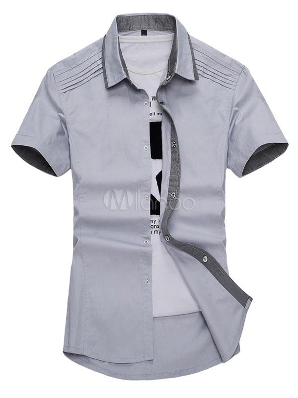 Cotton Casual Shirt Men's Turndown Collar Short Sleeve Color Block Slim Fit Summer Shirt