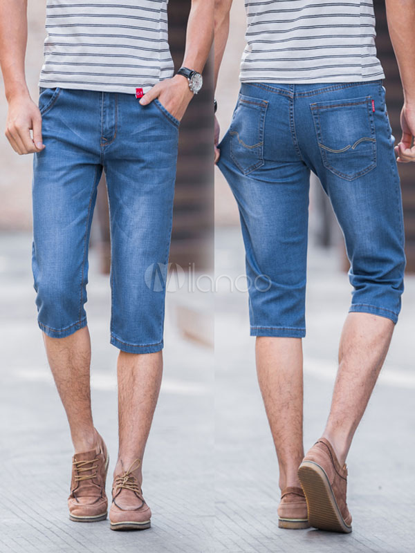 Buy Men's Denim Shorts Solid Color Zipper Fly Straight Leg Capri Shorts for $22.49 in Milanoo store