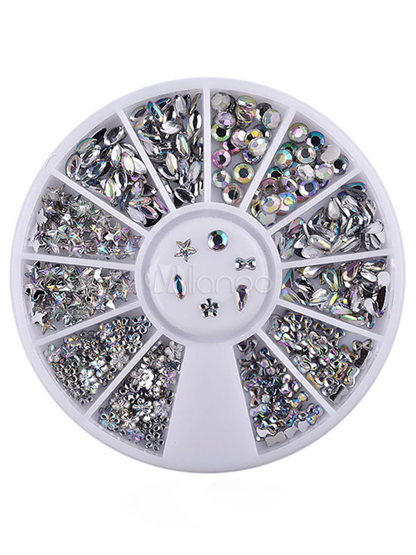 Silver Nail Accessory Glittering Snowflake Starlet Acrylic Nail Beauty Prop Cheap clothes, free shipping worldwide