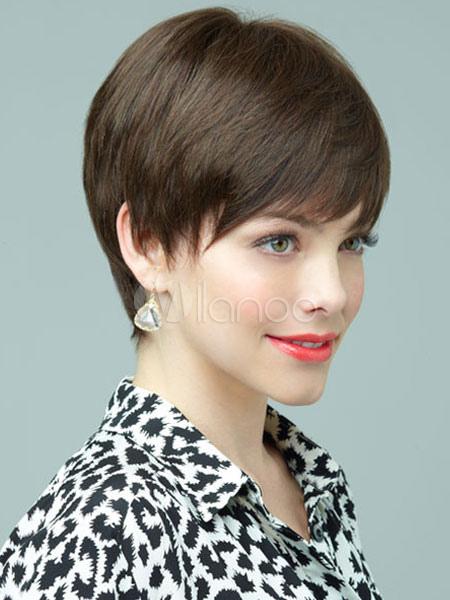 Human Hair Wigs Women's Short Straight Deep Brown Hair Wigs
