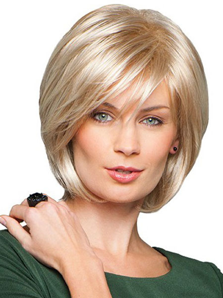 Human Hair Wigs Blond Straight Side Parting Women's Short Hair Wigs