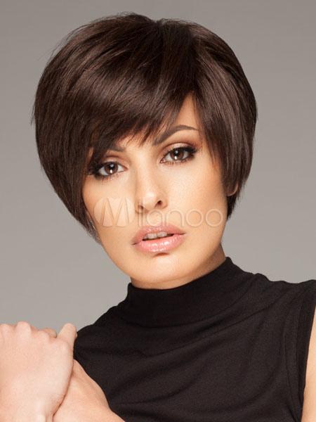 Short Straight Wigs Women's Black Synthetic Hair Wigs