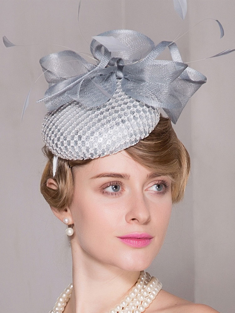 Buy Flower Hair Fascinator Vintage Light Gray Feather Bow Linen Women's Retro Headband Halloween for $48.99 in Milanoo store