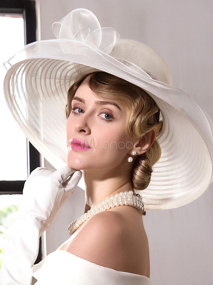 Buy Ivory Vintage Hat Linen Ribbon Flower Women's Retro Hair Accessory Halloween for $45.99 in Milanoo store