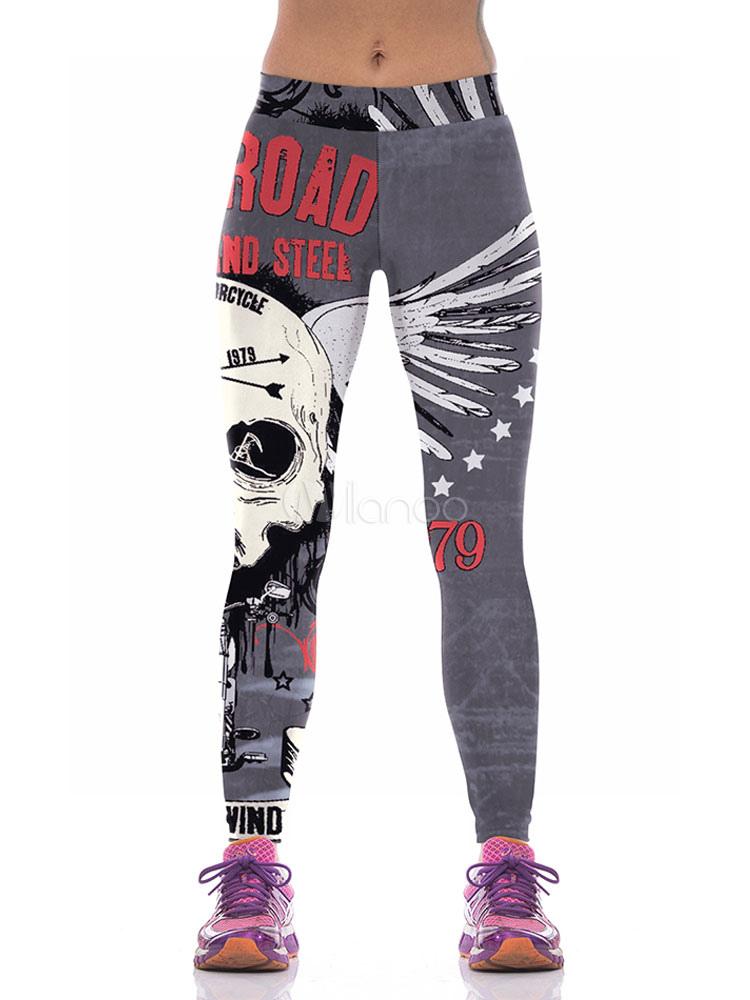 Buy Grey Skinny Leggings Women's High Elastic Waist Printed Sport Tight Pants for $17.99 in Milanoo store