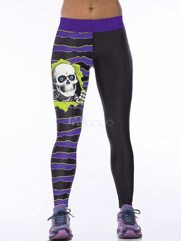 Buy Black Yoga Pants Women's Elastic Waist Printed Skinny Leggings for $17.99 in Milanoo store
