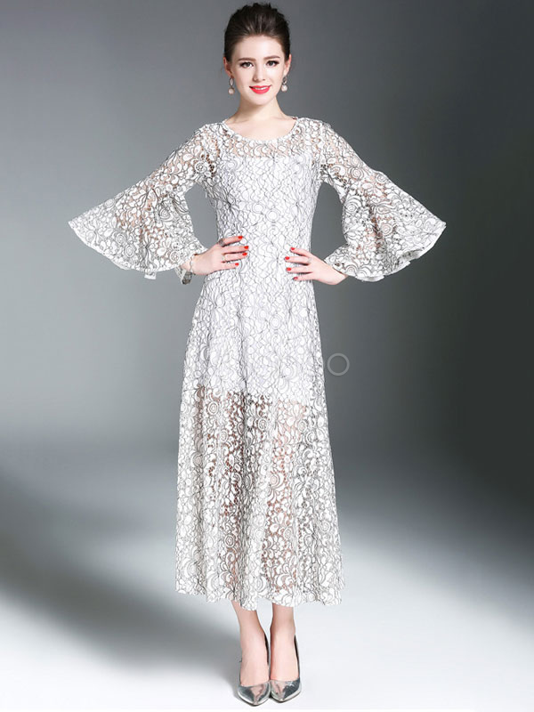 Buy White Long Dress Lace Round Neck 3/4 Length Flare Sleeve Pleated Dress With Belt for $44.82 in Milanoo store