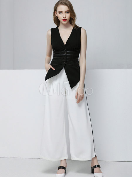 5a526d4e5041 2 Piece Outfit Women s Black V Neck Sleeveless Top With White Wide Leg  Pants- ...