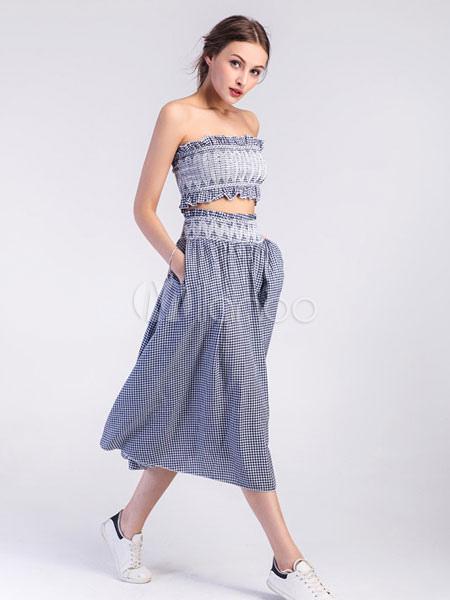 a1d728fc86d ... Black Plaid Skirt Set Strapless Sleeveless Tube Top With Pleated Skater  Skirt-No.2 ...