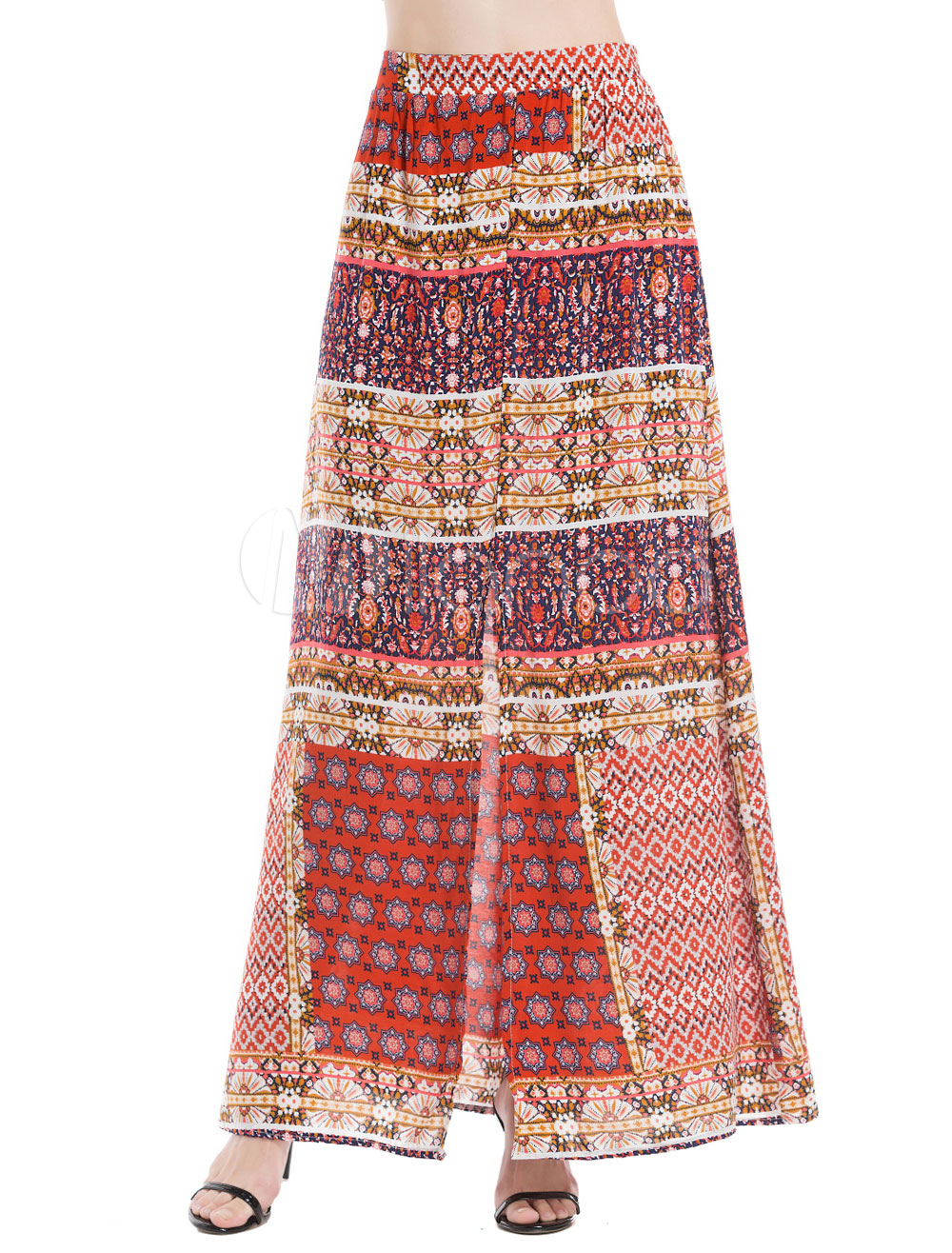 Boho Long Skirt Chiffon Red Printed Skirt For Women