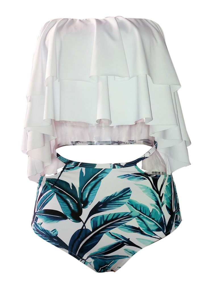413bcd6835127 ... Two Piece Swimsuit Off The Shoulder Floral Print Ruffles Cut Out High  Waist White Bathing Suit ...