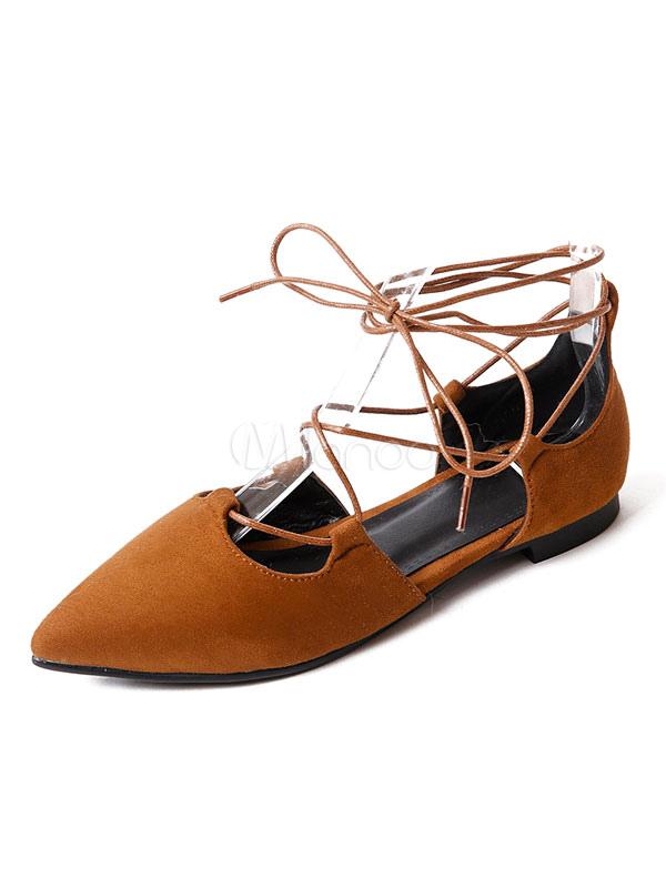 Zapatos planos de puntera puntiaguada con cinta Planos para mujer para ocasión informal estilo informal Color liso ty7FV