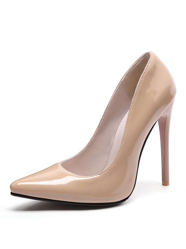 High Heel Pumps Pointed Toe Apricot Stiletto Slip On Pump Shoes For Women