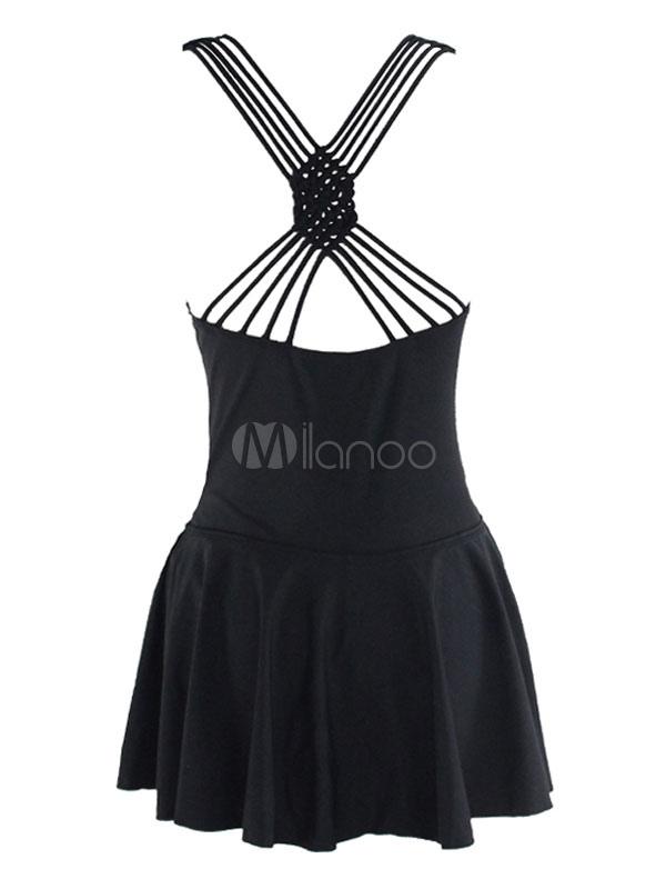 363c287b2aaf Traje de baño entero de fibra acrílica negro con escote en corazón con  diseño hueco Color liso estilo de playa