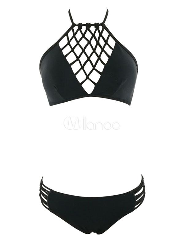 337da88a451 Black Two Piece Swimsuits Crochet Halter Women's Bathing Suits ...