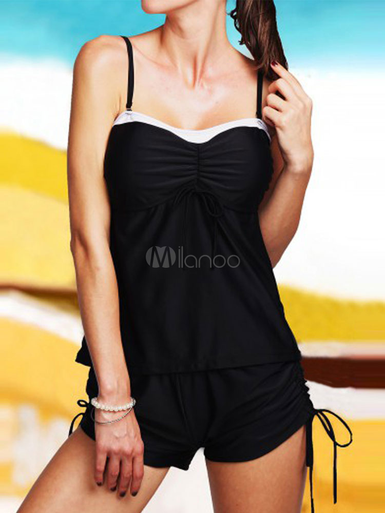 Buy Black Tankini Swimsuit Two Tone Side Tie Two Piece Women's Bathing Suits for $18.99 in Milanoo store