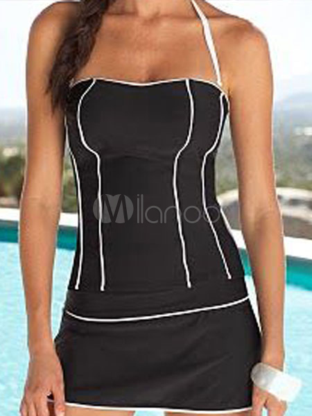Black Tankini Swimsuit Halter Two Piece Women's Bathing Suits