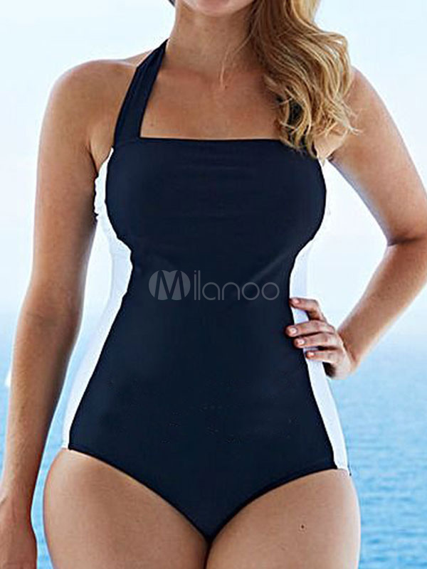 Buy Black Bathing Suits Halter Two Tone One Piece Swimsuit For Women for $26.99 in Milanoo store