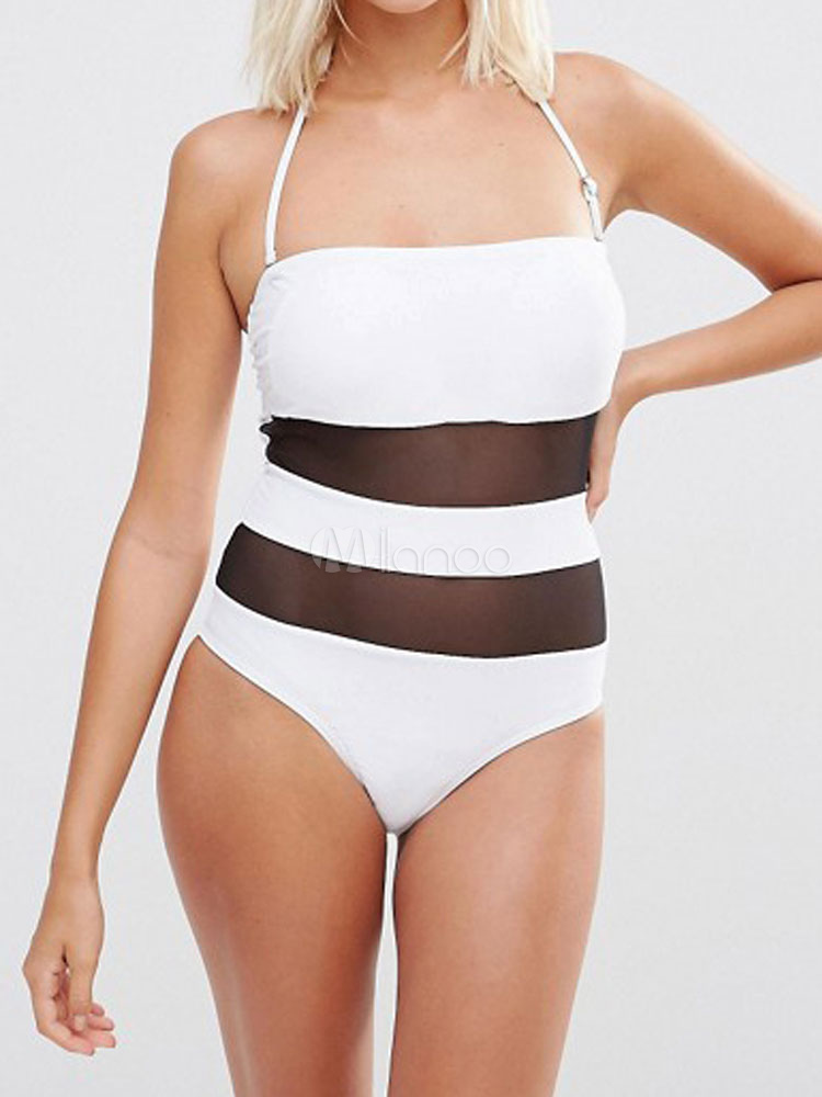 Buy White Bathing Suits Two Tone Halter Semi Sheer One Piece Swimsuit For Women for $18.99 in Milanoo store