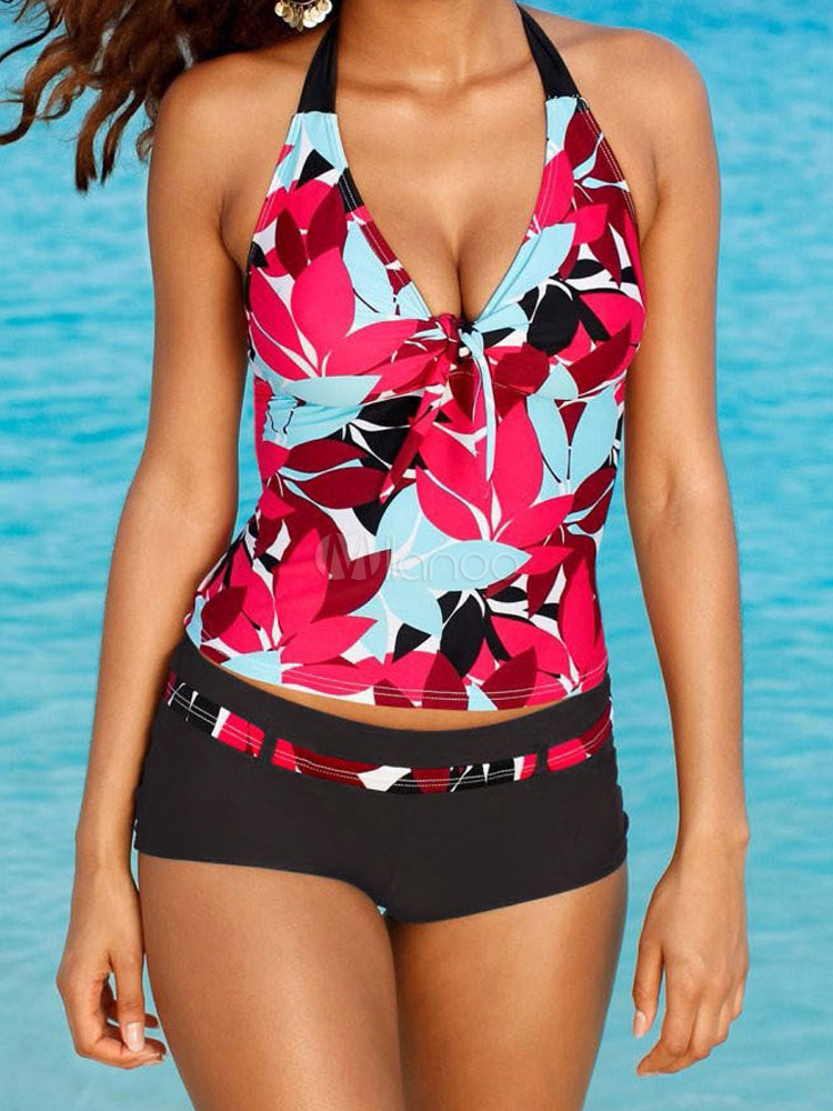 Rose Tankini Swimsuit Halter Leaf Print Two Piece Women's Bathing Suits
