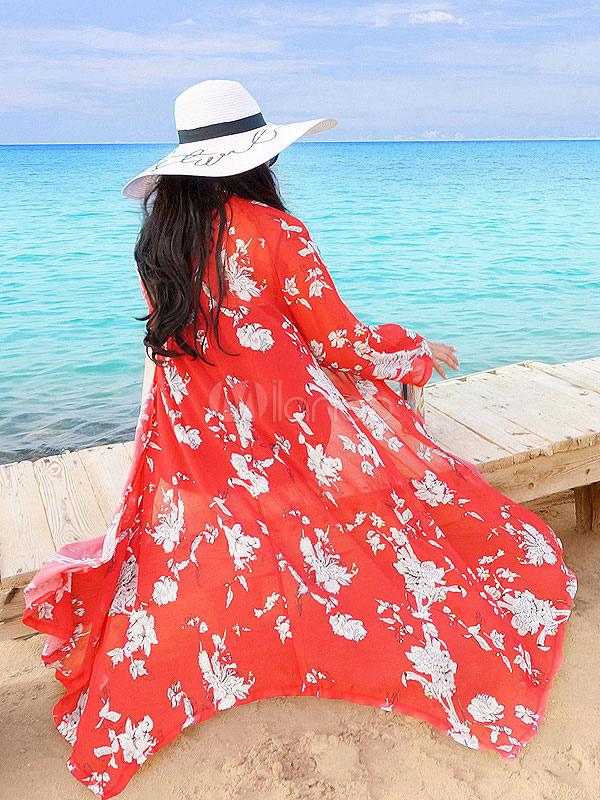 Chiffon Cover Ups Boho Red 3/4 Length Sleeve Floral Printed Beachwear March 2018. New collection, free shipping.